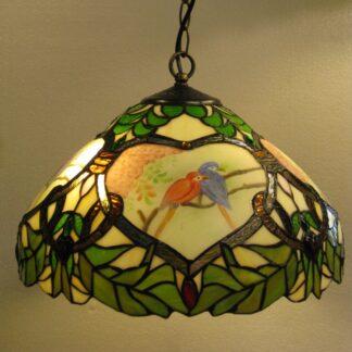 Smuk Tiffany pendel med fugle