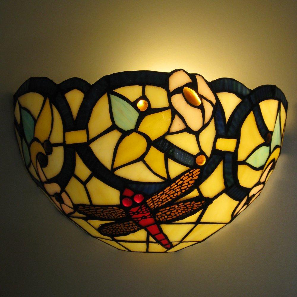 Tiffany væglampe med sølvsmed